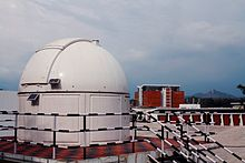 The Observatory at IIST with an 8-inch Celestron telescope. The library building can be seen in the background