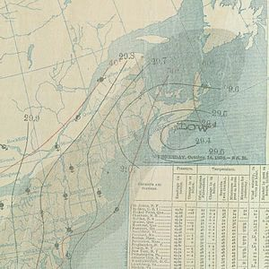 1896 East Coast hurricane - Map of the extratropical storm near Nova Scotia on October 14