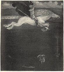 Un bărbat bărbos, cu cască, o suliță în mână, călărește liber un cal alb, a cărui spumă curge de pe buze, parând că zboară deasupra solului.