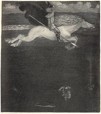 """Sleipnir - """"Odin and Sleipnir"""" (1911) by John Bauer."""