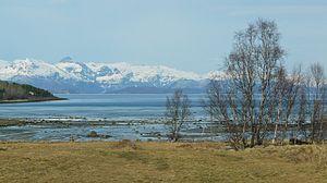 Ofotfjord - View from Djupvika towards Bogen. 2 May 2009