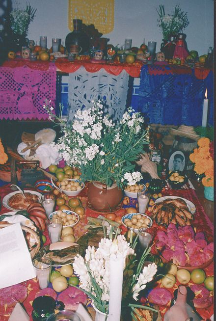 Day of the Dead altar in the Sierra Mixteca Ofrenda mixteca poblana.jpg