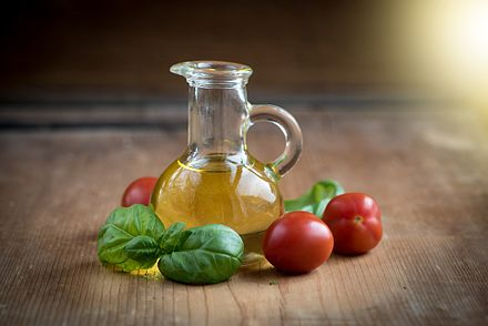 Olive oil and vegetables are central to the Mediterranean diet. Oil-1383546 1920.jpg