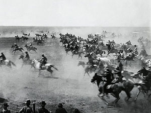 Cimarron (novel) - Photograph of the 1893 Oklahoma Land Rush, depicted in Ferber's book and films.