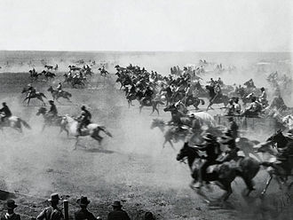 Cherokee Outlet - Photograph of the land rush by William S. Prettyman who participated in it and served as a mayor of Blackwell