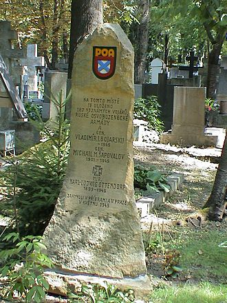 Prague uprising - Mass grave of two generals and 187 unknown soldiers of the Russian Liberation Army in Prague cemetery
