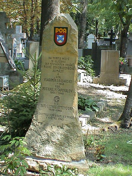 Mass grave of two generals and 187 unknown ROA soldiers, Olsany Cemetery in Prague Olsanske hrbitovy, Ruska osvobozenecka armada.jpg