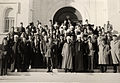 Omar Elwary the Mayor of Jerusalem with King Hussein of Jordan, the PM HE AbdulSalam AlMajali 1954..jpg