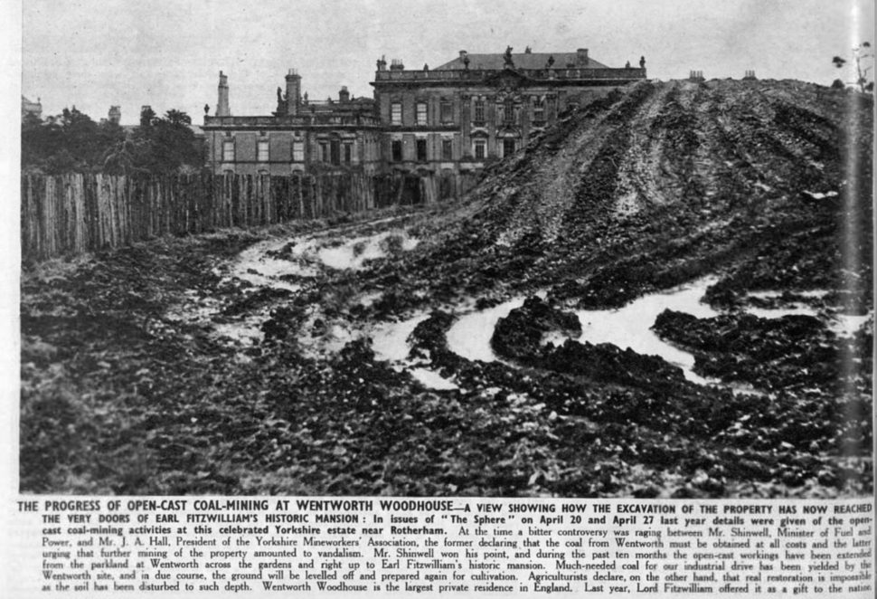 Opencast coal mining in 1947 at Wentworth Woodhouse