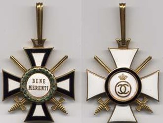 House Order of Hohenzollern - Romanian version for class of Commander (for military personnel)