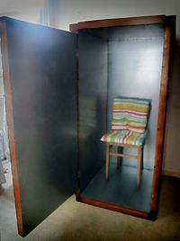Orgone energy accumulator with door open.