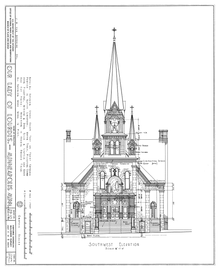 artist's drafting of the facade