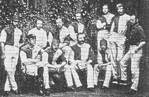 1874 FA Cup Final - Oxford University's F.A. Cup winning side of 1874. Standing: Vidal, Green, Mackarness, Johnson, Benson, Birley, Nepean; Seated: Ottaway, Patton, Maddison, Rawson.