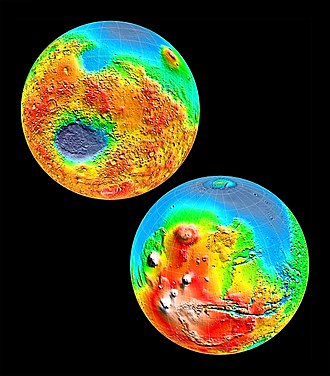 Mars Orbiter Laser Altimeter - MOLA topographic images of the two hemispheres of Mars. This image appeared on the cover of Science magazine in May 1999.