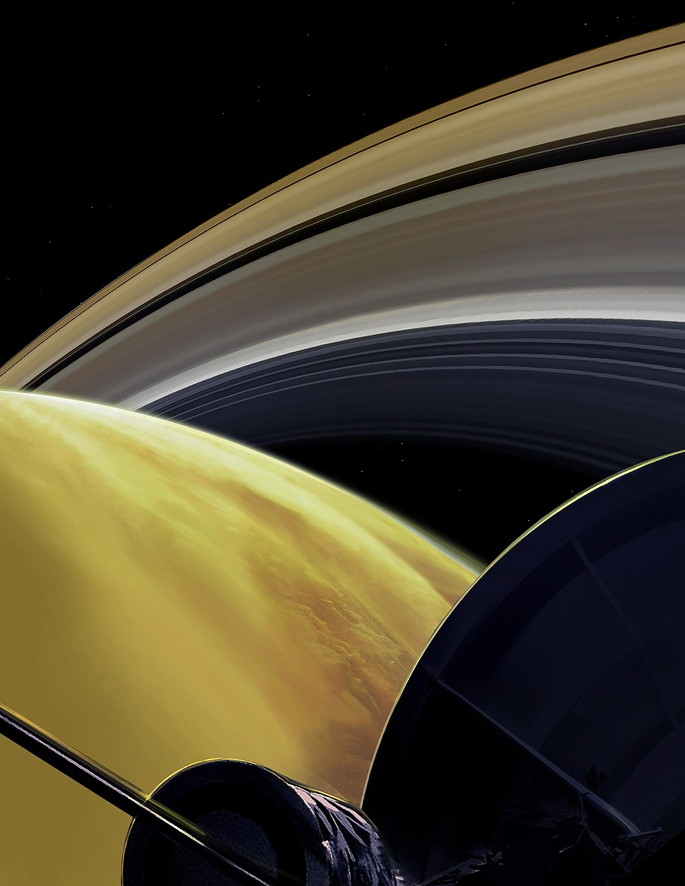 PIA22768-CassiniOrbitsSaturn-FinalDive-ArtistConcept-20181003