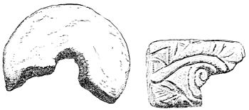 PSM V14 D277 Ancient japanese spindle whorl and a small clay brick.jpg