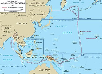 Asiatic-Pacific Theater - A map of the Asiatic-Pacific Theater showing its component areas. The China-Burma-India Theater fell under the British-led South East Asia Command.