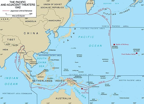 Map of the South West Pacific Theater - South West Pacific Area (command)