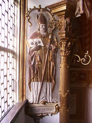 Liborius of Le Mans - Saint Liborius, relief in the Trinity Chapel of the Paderborn Cathedral.
