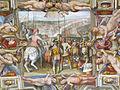 Palazzo capponi-vettori, salone poccetti, volta, imprese 02 gino di neri capponi riceve pisa nel 1406.JPG