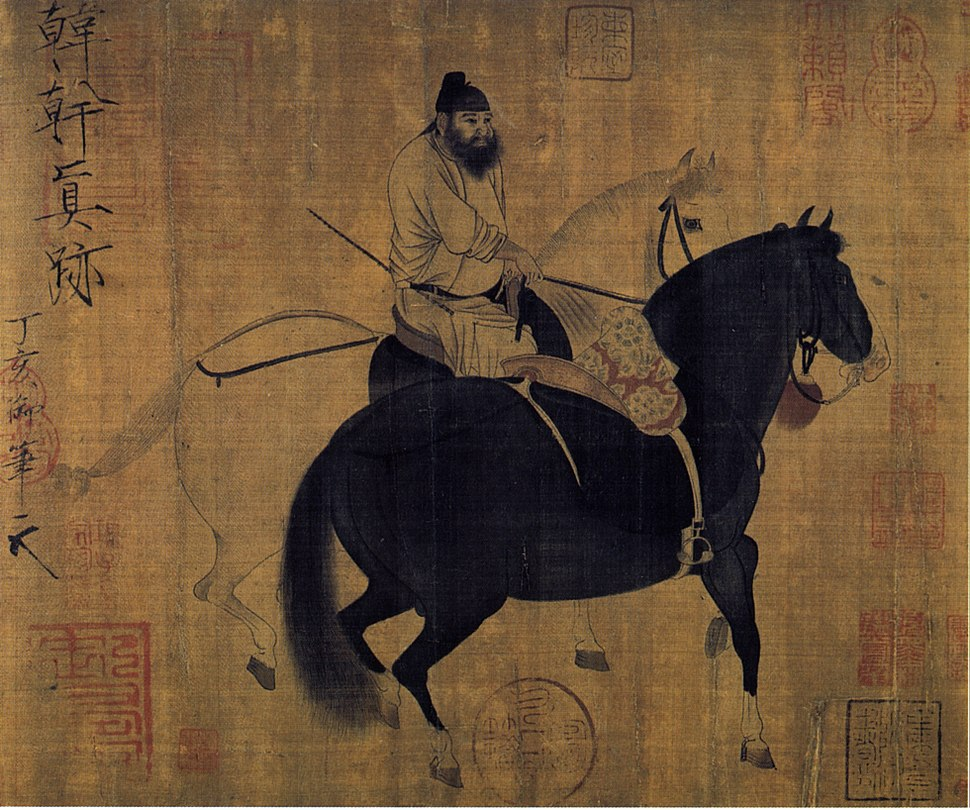 Palefrenier menant deux chevaux par Han Gan