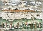 Panorama Rostocks von Norden (Gehlsdorfer Ufer), kolorierter Kupferstich von 1597