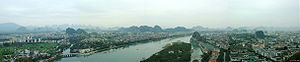 Jingjiang Princes' City - Standing on top of the Solitary Beauty Peak can see a panorama of Guilin