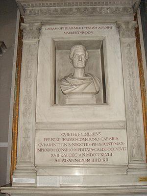 San Lorenzo in Damaso - Monument for Pellegrino Rossi, sculpted by Pietro Tenerani.