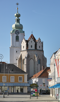 Parish Church Neunkirchen Lower Austria from SE on 2014-03-08.png
