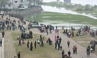 Sinuiju - A park near the Sino-Korean Friendship Bridge