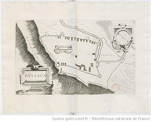 Passavas - Sketch of the castle by the Venetian Vincenzo Coronelli, 1689