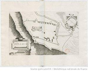 Passavas - Sketch of the castle by the Venetian Vincenzo Coronelli, 1689