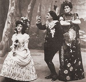 Charles H. Workman - as Bunthorne, with Clara Dow (left) and Louie René