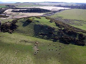 Hillforts in Scotland - Peace Knowe Hillfort, West Lothian, photographed from the air