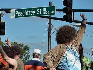 Peachtree Street - People celebrating on Peachtree Street
