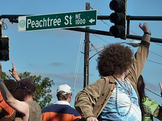 Peachtree Street - People celebrating on Peachtree Street