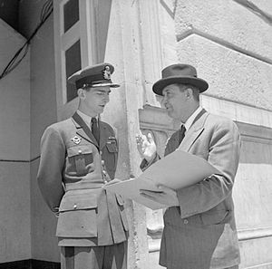 Ivan Šubašić - With King Peter II in Italy after meeting Tito.