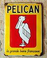 Pelican - la grande bière française, enamel advert at the Musée Européen de la Bière.JPG