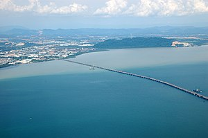 Perai - The Penang Bridge links Perai (left) with Penang Island (not pictured).