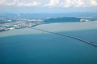 Perai - The Penang Bridge links Perai (left) with Penang Island (not pictured).