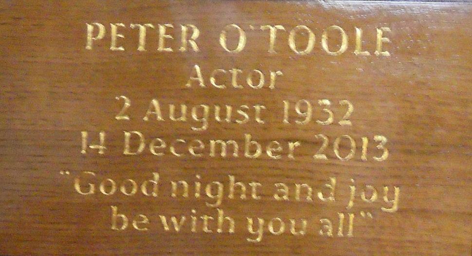 Peter O'Toole Memorial Plaque London