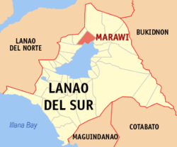 Map of Lanao del Sur showing the location of Marawi City.