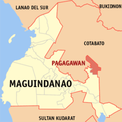 Map of ماگوئنداناؤ showing the location of Pagagawan, now Datu Montawal