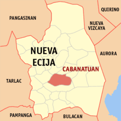 Map of Nueva Ecija showing the location of the city of Kabanatuan.