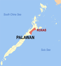 Map of Palawan with Roxas highlighted