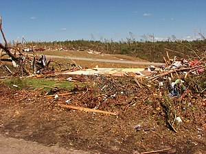 2011 Hackleburg–Phil Campbell, Alabama tornado - EF5 damage in Phil Campbell, with multiple homes swept away and grass scoured from hillsides.