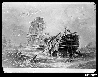 HMS Belleisle (1795) - Image: Photo of a painting of HMS BELLEISLE (7974879939)