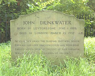 John Drinkwater (playwright) - Drinkwater's grave at Piddington, Oxfordshire