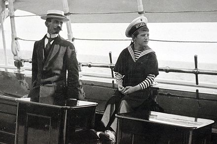 Gilliard and Tsarevich Alexei on board the imperial yacht Standart Pierre Gilliard and Alexei.jpg