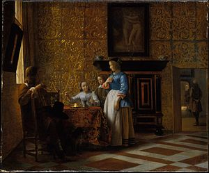 Cuir de Cordoue - 17th-century Dutch interior with gold leather hangings, Pieter de Hooch (ca. 1665), Metropolitan Museum of Art